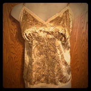 Beige Gold Brown Paisley Satin Look Tank 22w/24w
